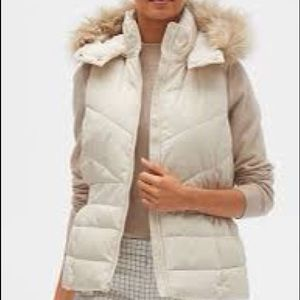 Banana Republic Cream Faux hooded Vest